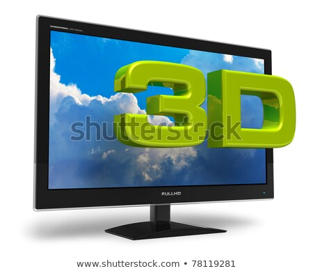 3D television screen with 3D text Stock photo © daboost