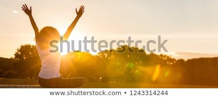 girl sitting on hay bale Stock photo © IS2