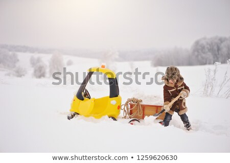 jouet · camion · neige · route · hiver · voitures - photo stock © ssuaphoto