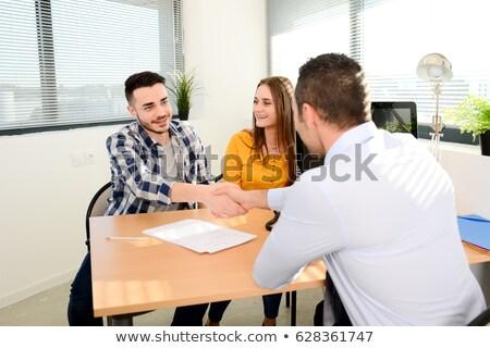 Pareja · hablar · asesor · financiero · negocios · hombre · femenino - foto stock © is2