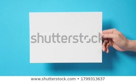 Menselijke hand blanco papier vel vector cartoon Stockfoto © RAStudio