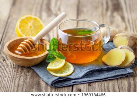 çay bal limon zencefil ahşap sağlık Stok fotoğraf © dolgachov