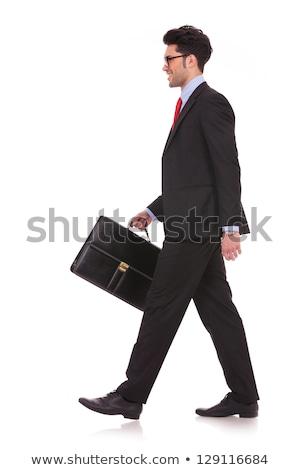 feliz · empresario · caso · ejecutando · aislado · blanco - foto stock © feedough