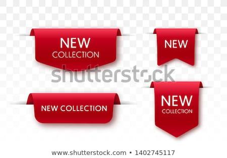 piros · árengedmény · matricák · szett · üzlet · papír - stock fotó © andrei_