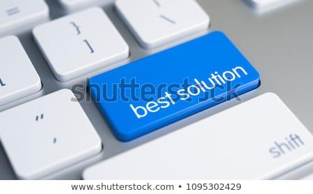 Legjobb megoldás felirat kék billentyűzet numerikus billentyűzet Stock fotó © tashatuvango
