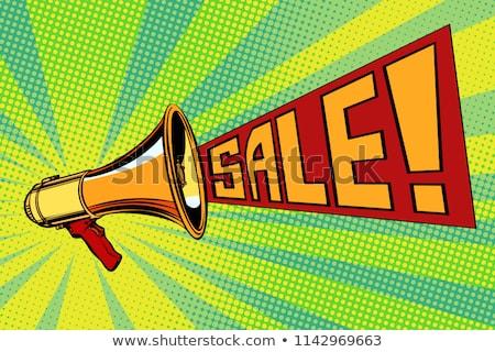 Spreker megafoon verkoop tekst pop art retro Stockfoto © studiostoks