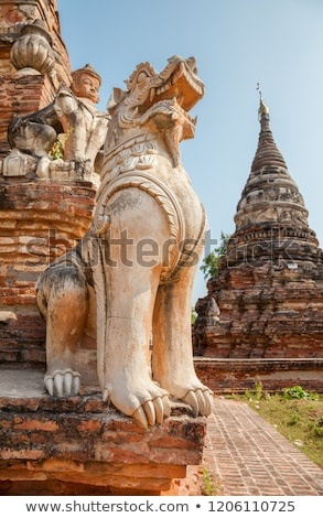 Мьянма · украшение · cyan · пагода · комплекс · лев - Сток-фото © romitasromala