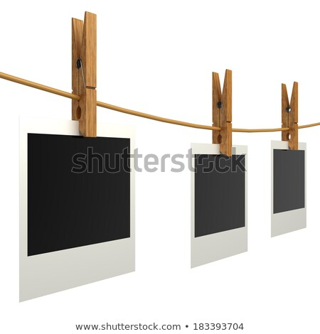 Stock photo: Clothes pin and three blank photo papers hanging on rope 3D