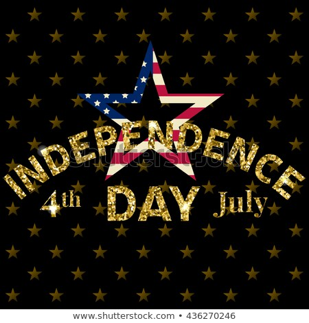 independence day of the usa party flyer illustration with flag and gold star vector fourth of july stock photo © articular