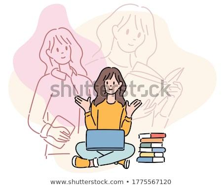 セット 少女 勉強 実例 図書 幸せ ストックフォト © bluering