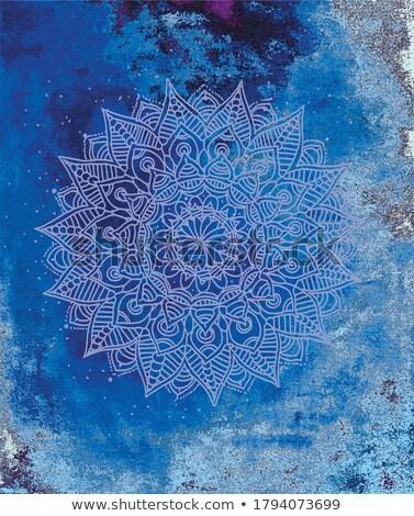 aquarel · Blauw · mandala · patroon · asian - stockfoto © sarts
