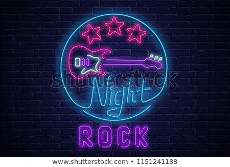 Rock star party, music poster background template - guitar in purple stock photo © Natali_Brill