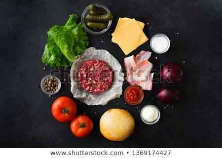 Hamburger malzemeler siyah gıda et Stok fotoğraf © AndreyPopov