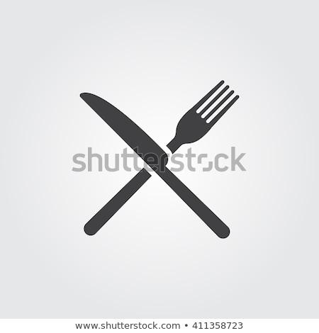 フォーク ナイフ グレー 写真 現実的な 3次元の図 ストックフォト © pakete