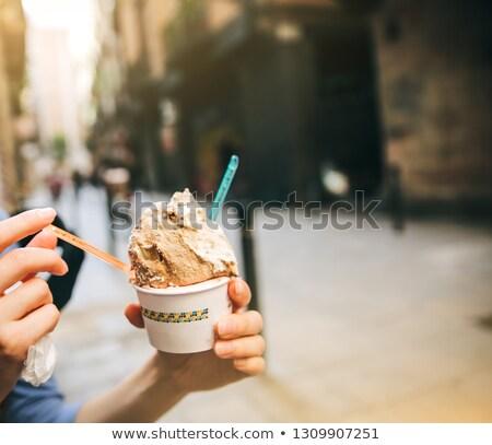 Weiblichen Hand Eis Waffel Kegel alten Stock foto © bezikus