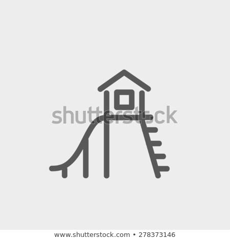 Játszótér ház fehér illusztráció tűz művészet Stock fotó © bluering