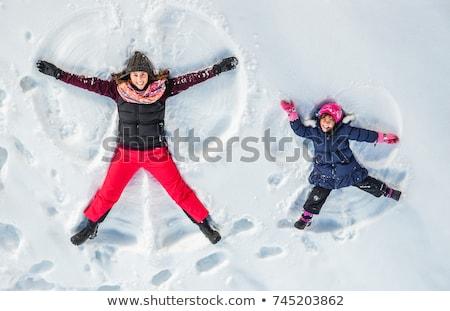 Foto stock: Nino · nieve · ángel · feliz · nino