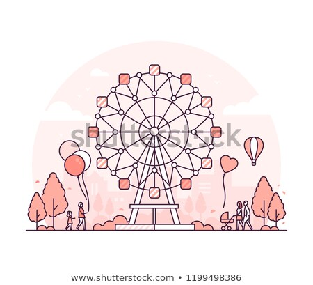 Big wheel - thin line design style vector illustration Stock photo © Decorwithme