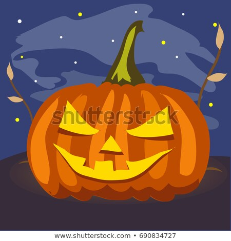 Ripe pumpkin with carved eyes and mouth. Attribute of the holiday of Halloween in the night. Poster  Stock photo © Lady-Luck