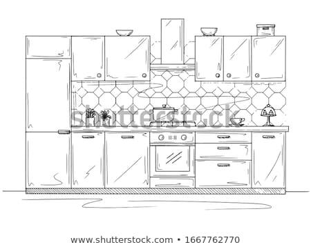 Kézzel rajzolt konyha bútor rajz stílus otthon Stock fotó © Arkadivna