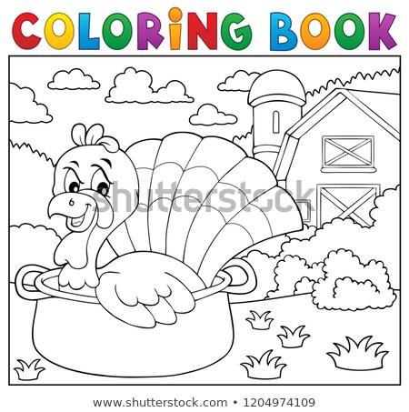 Coloring book turkey bird in pan theme 2 Stock photo © clairev