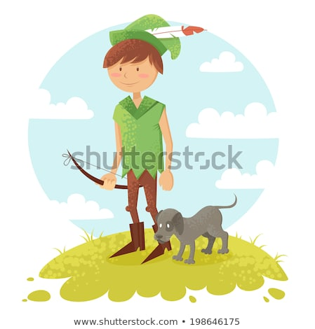 Cartoon Smiling Robin Hood Boy Stock photo © cthoman