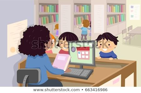 Gyerekek könyvtár könyv illusztráció beszél könyvtáros Stock fotó © lenm