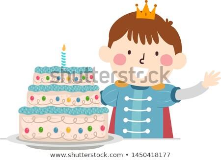 Cartoon tort ilustracja szczęśliwy ciasto Zdjęcia stock © cthoman