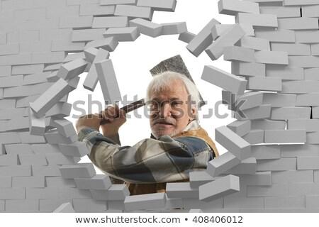 Agresszív férfi fal fiatalember ököl kéz Stock fotó © AndreyPopov