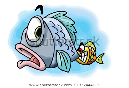 Feliz pequeno piranha desenho animado ilustração olhando Foto stock © cthoman