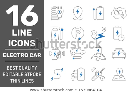 Conjunto carro elétrico ilustração projeto arte verde Foto stock © bluering