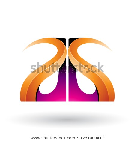 Magenta and Orange Glossy Curvy Embossed Letter A Vector Illustr Stock photo © cidepix