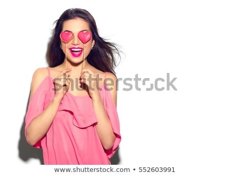 jonge · brunette · vrouw · lang · haar · geïsoleerd - stockfoto © deandrobot
