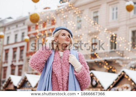 pink christmas decorations on white fur stock photo © neirfy
