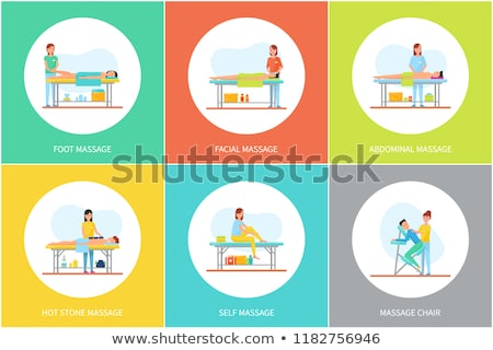 Facial and Self Massage Care Posters Set Vector Stock photo © robuart