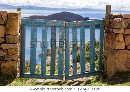 Old wooden ence at Isla del Sol on Titicaca lake Stock photo © boggy