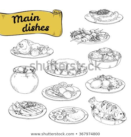 ビーフステーキ ソーセージ プレート フライド 務め ストックフォト © robuart
