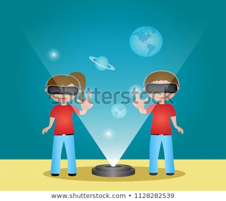 virtueel · realiteit · meisjes · jongens · cartoon · banner - stockfoto © robuart