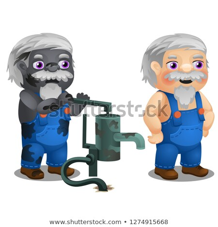Animated male workman with coverall and broken water hand pump isolated on white background. Vector  Stock photo © Lady-Luck