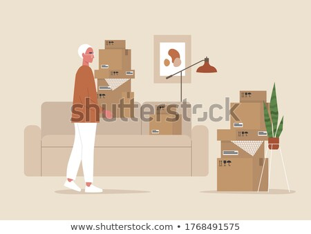 box carton parcels packs with sofa and lamp vector stock photo © robuart