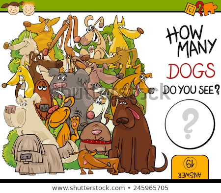 Stock fotó: Dogs Counting Game Cartoon Illustration