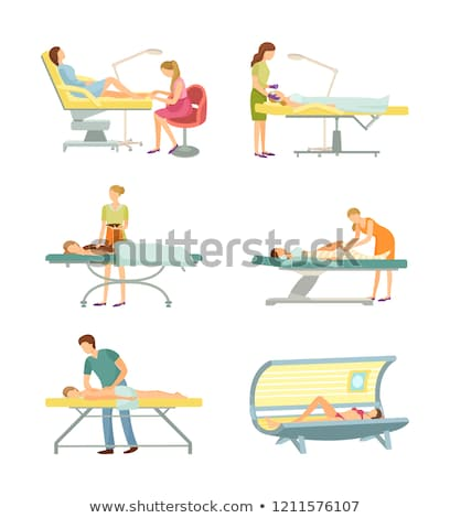 tanning spa salon and body wrap icons set vector stock photo © robuart