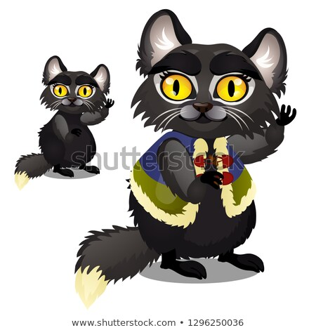 Sly animated black furry cat with yellow eyes in a vest isolated on white background. Vector cartoon Stock photo © Lady-Luck