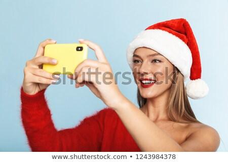 vrouw · hoed · telefoon · afbeelding - stockfoto © deandrobot