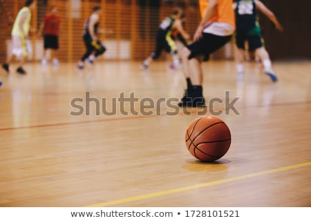 Basketball Training Game Background. Basketball on Wooden Court  Stock photo © matimix