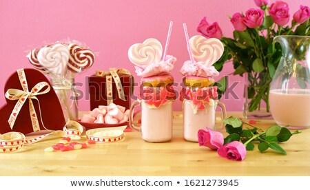 Valentines Day pink milkshake drink web banner Stock photo © cienpies