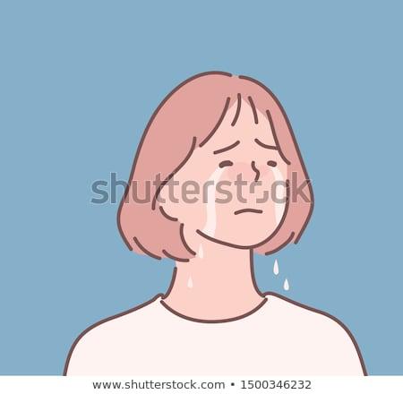 Stock photo: Doodle girl crying character