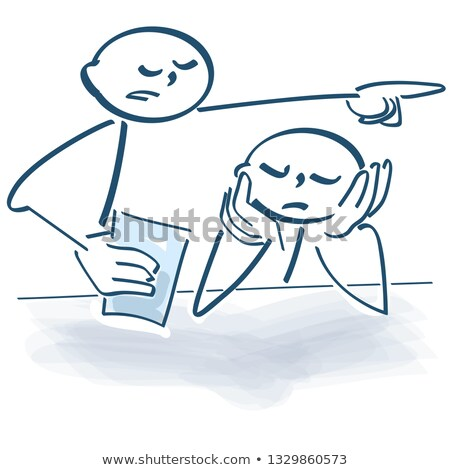 Stick figure makes trouble as a boss in the office Stock photo © Ustofre9