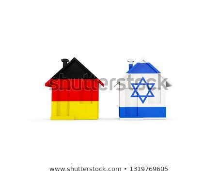 Kettő házak zászlók Németország Izrael izolált Stock fotó © MikhailMishchenko