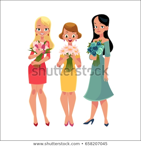 Stock photo: Beautiful woman, girls, friends standing, holding bunches of flowers, cartoon vector illustration is